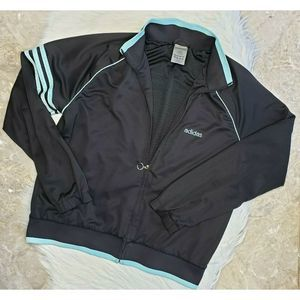 ADIDAS Zip Front Athletic Jacket Black Size Large